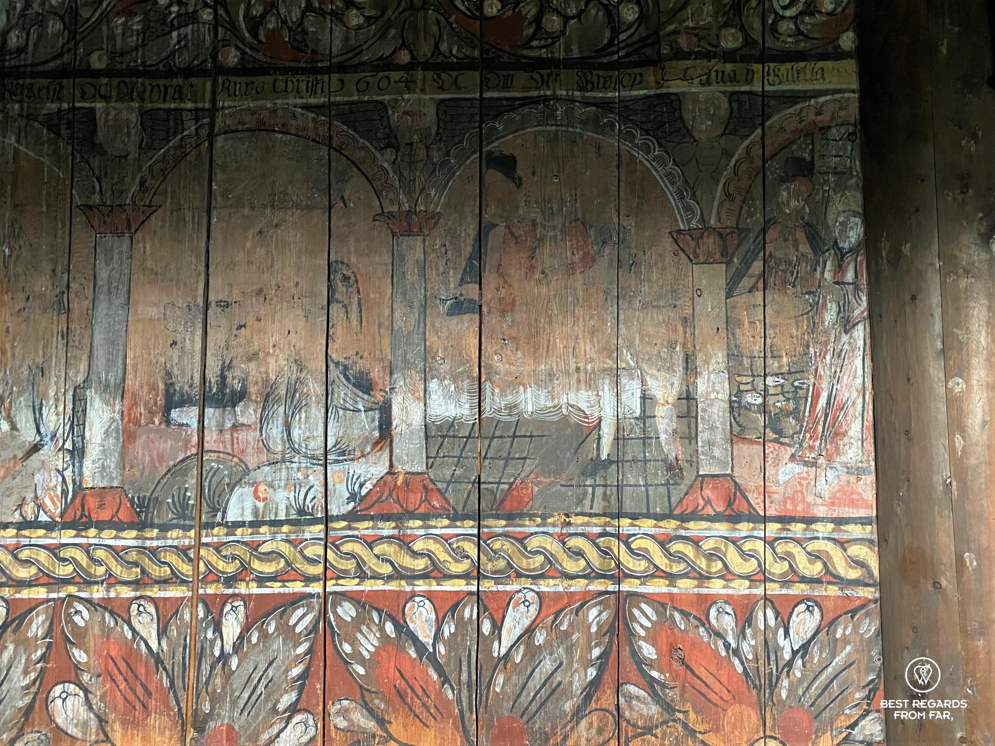 Paintings inside Eidsborg Stave Church