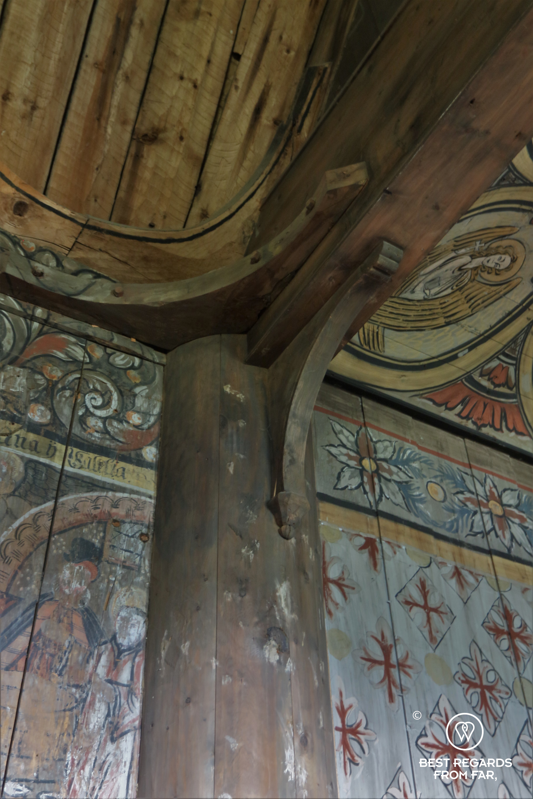 One of the staves inside Eidsborg Stave Church