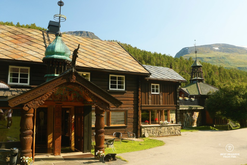 Wooden exterior of the Elveseter Hotel, Norway
