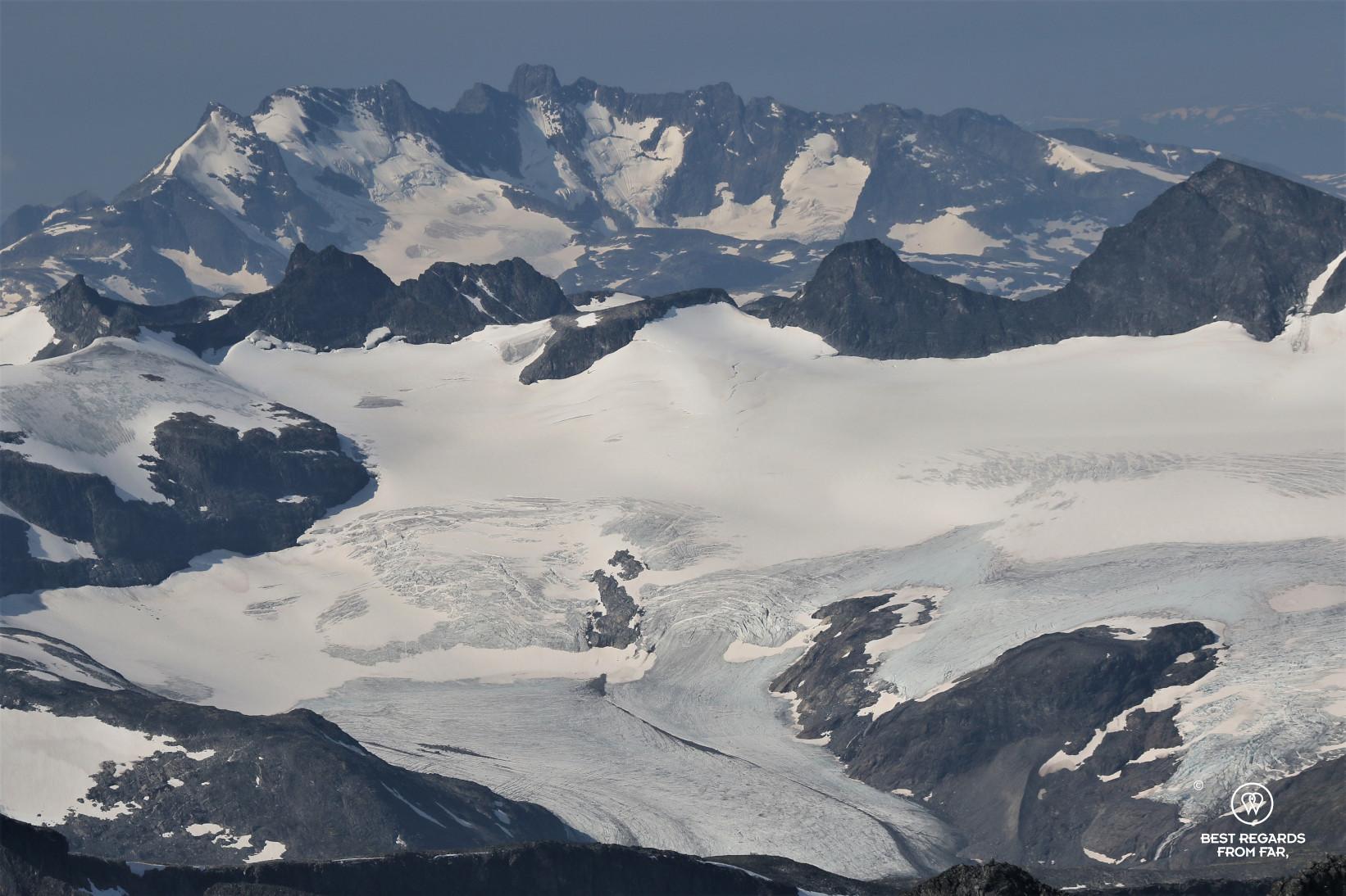 Landscape of glaciers seen from the peak of Galdhøpiggen, Norway's highest