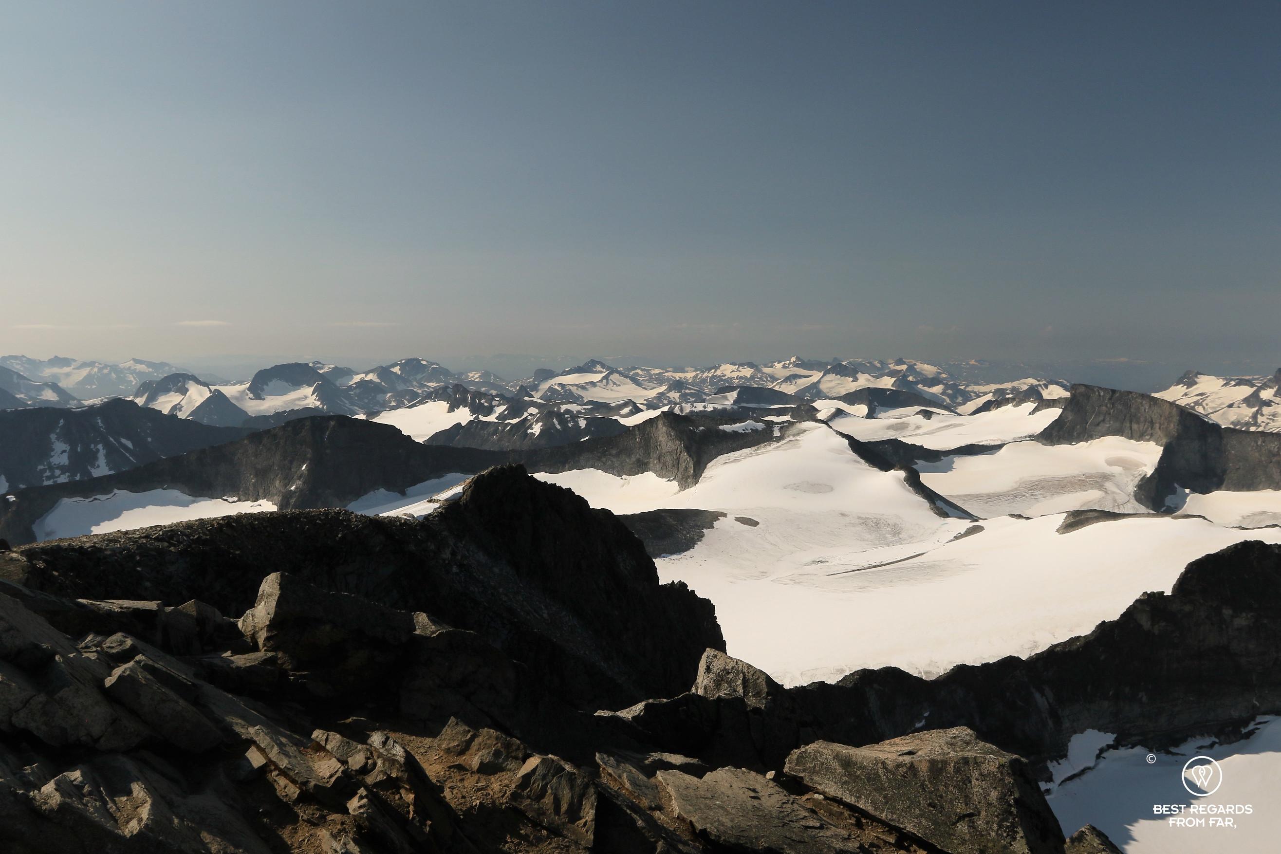 Landscape of snowy peaks seen from Galdhøpiggen, Norway's highest