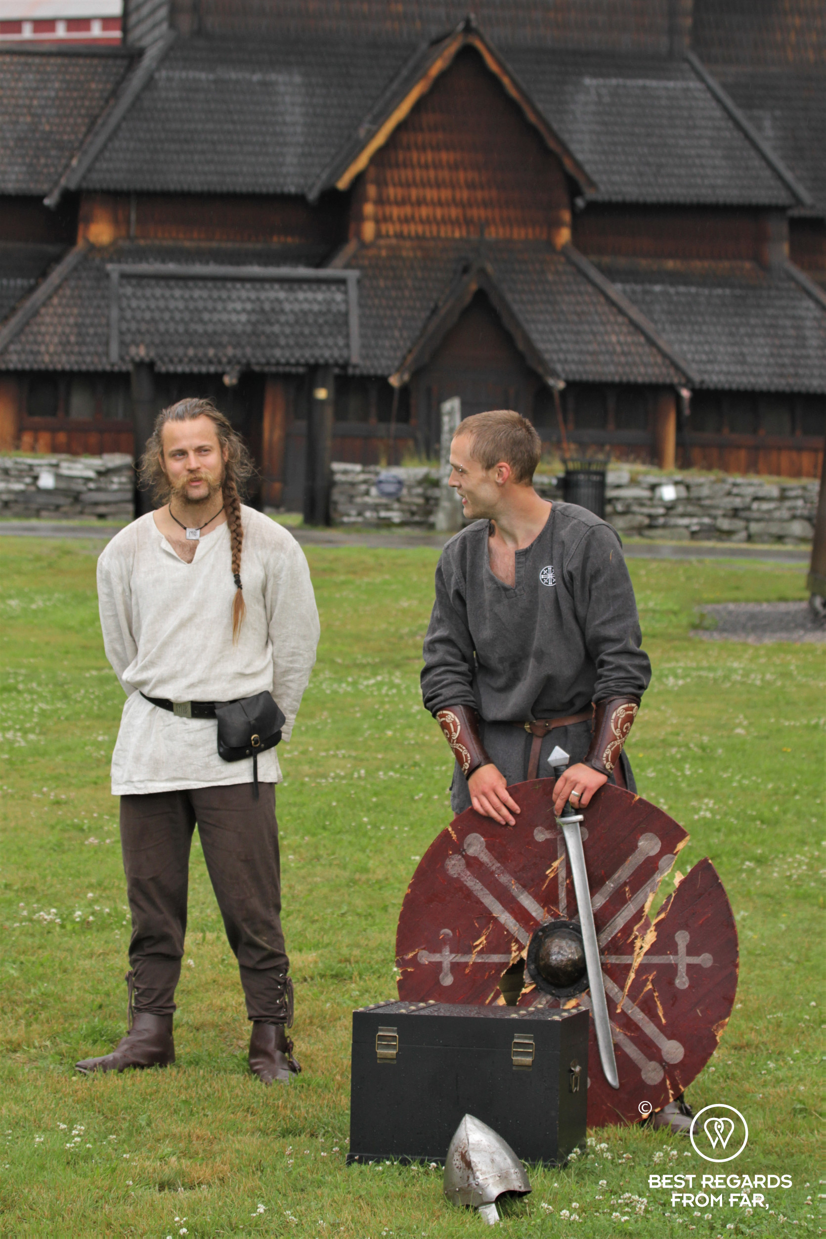 Viking show in front of Heddal Stave Church