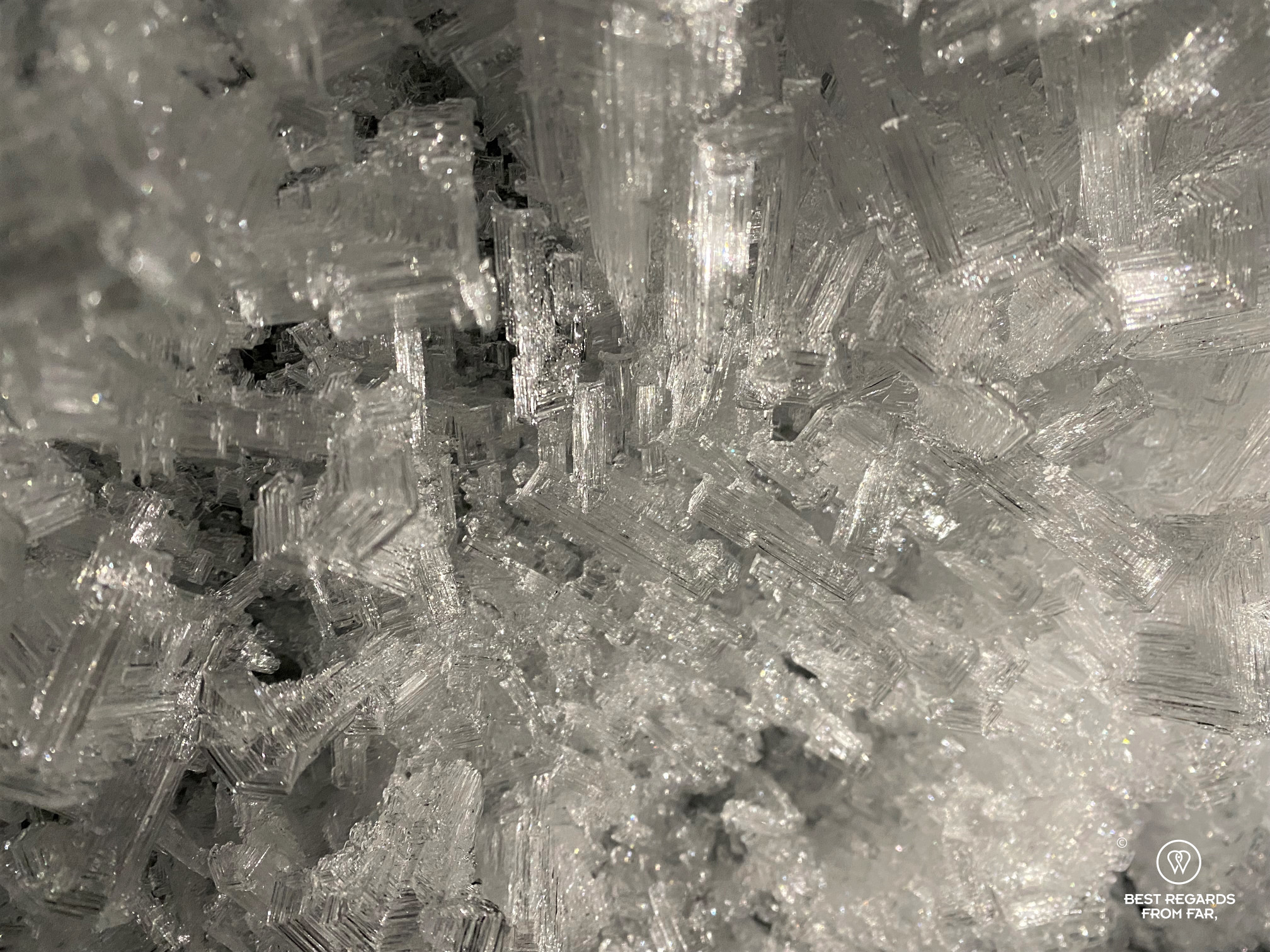 Ice crystals formed inside the ice tunnel, Norway