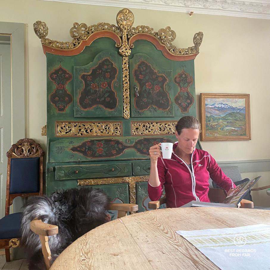 Photographer Marcella van Alphen taking a break at the historic Kongsvold hotel, Norway