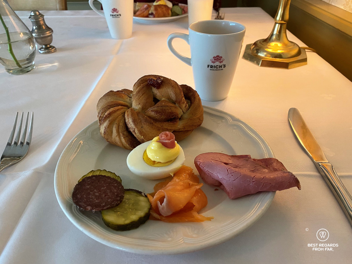Breakfast plate at the historic Kongsvold hotel, Norway