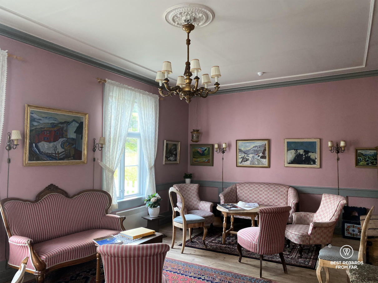 Historic living rooms at the Kongsvold hotel, Norway