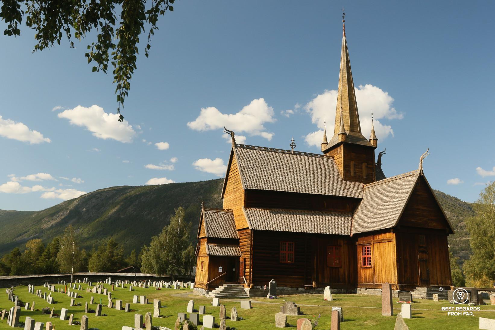 Lom Stave Church against a blue sky