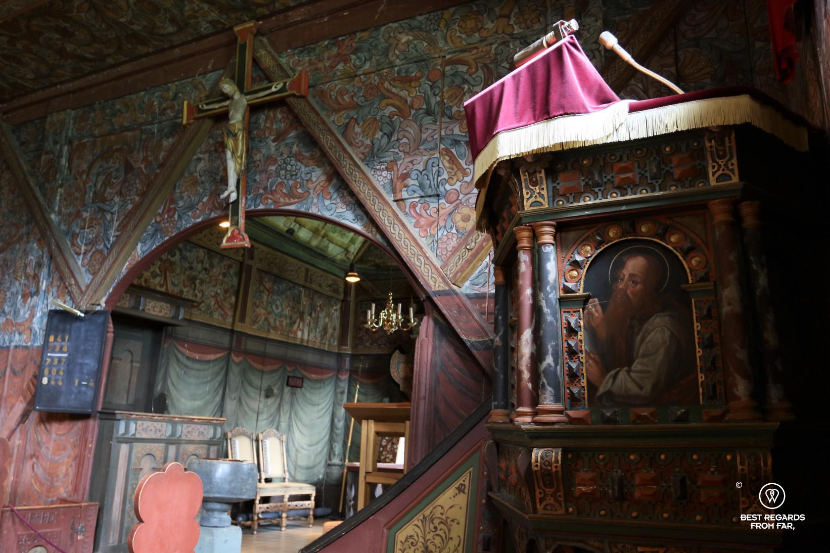 Inside Røldal Stave Church