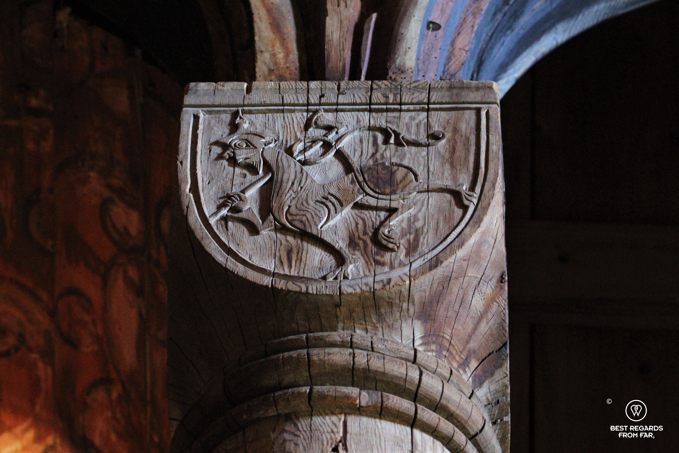 Delicate wood carvings inside Urnes Stave Church