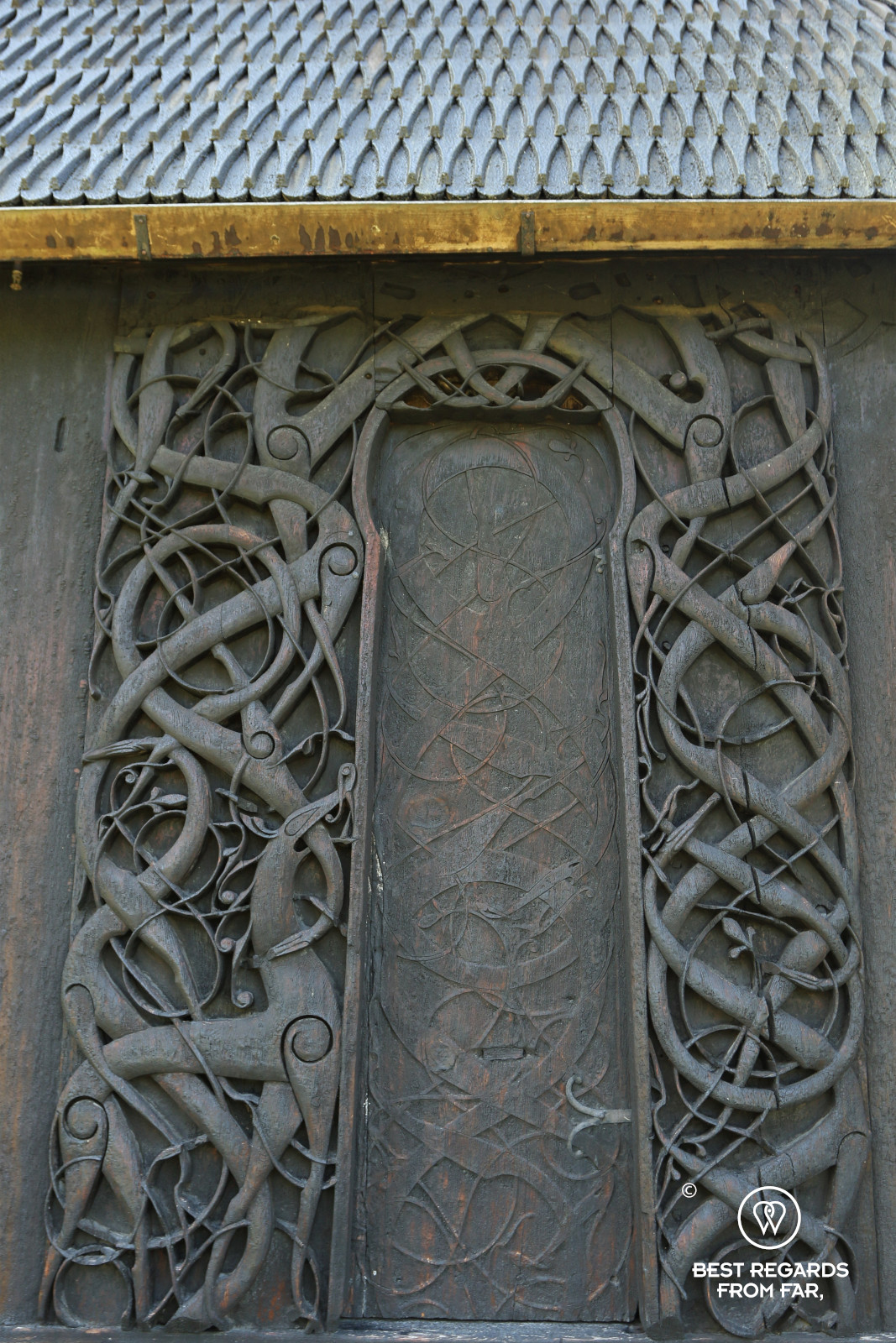 Delicate wood carvings on the door of Urnes Stave Church