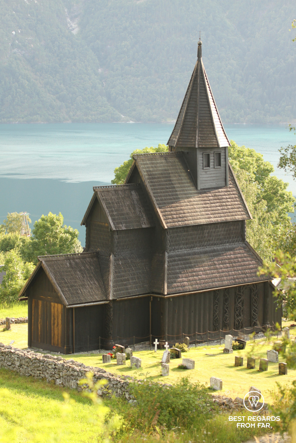 Urnes Stave Church overlooking the fjord
