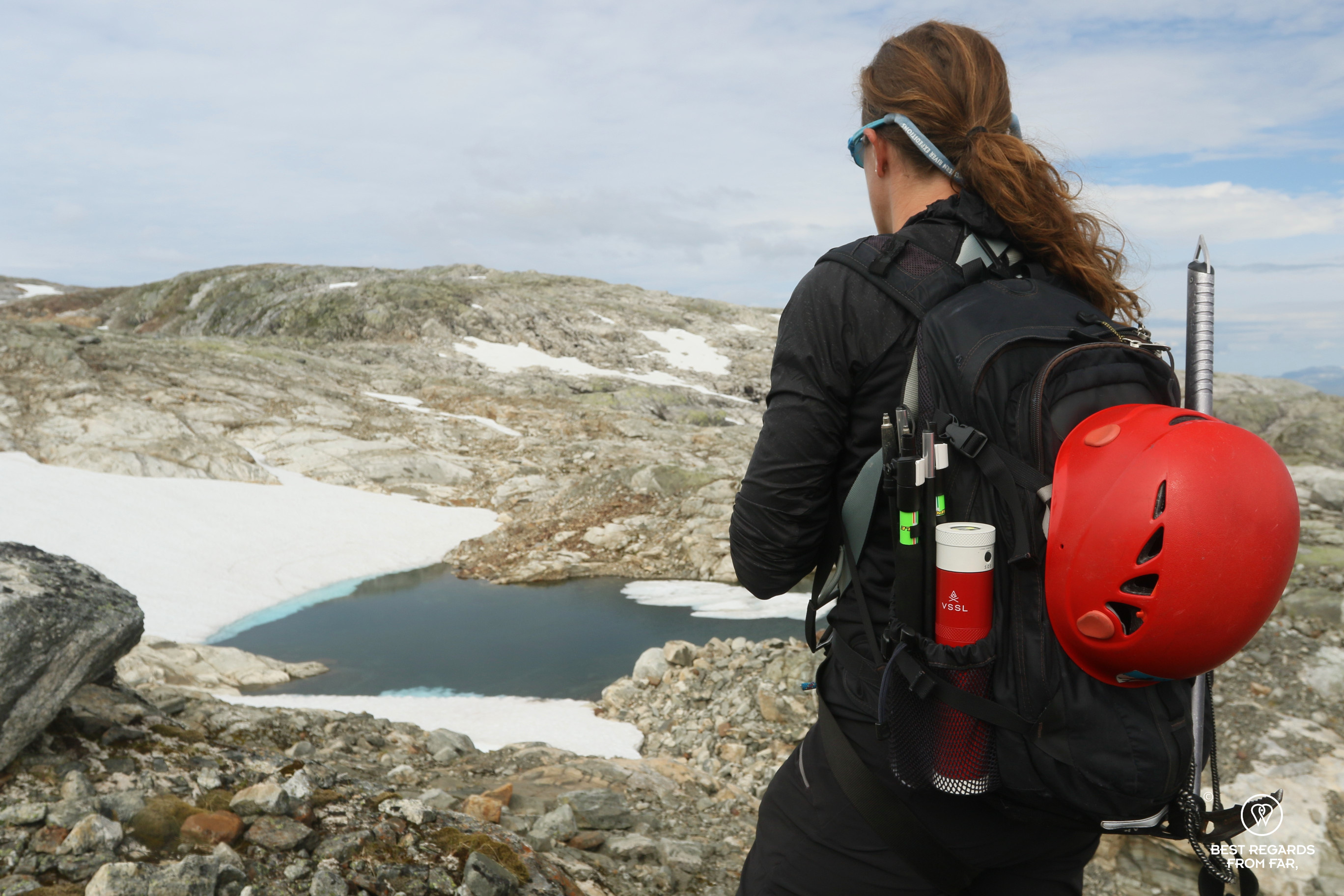 Author Marcella van Alphen taking in the landscape by the Fonna Glacier