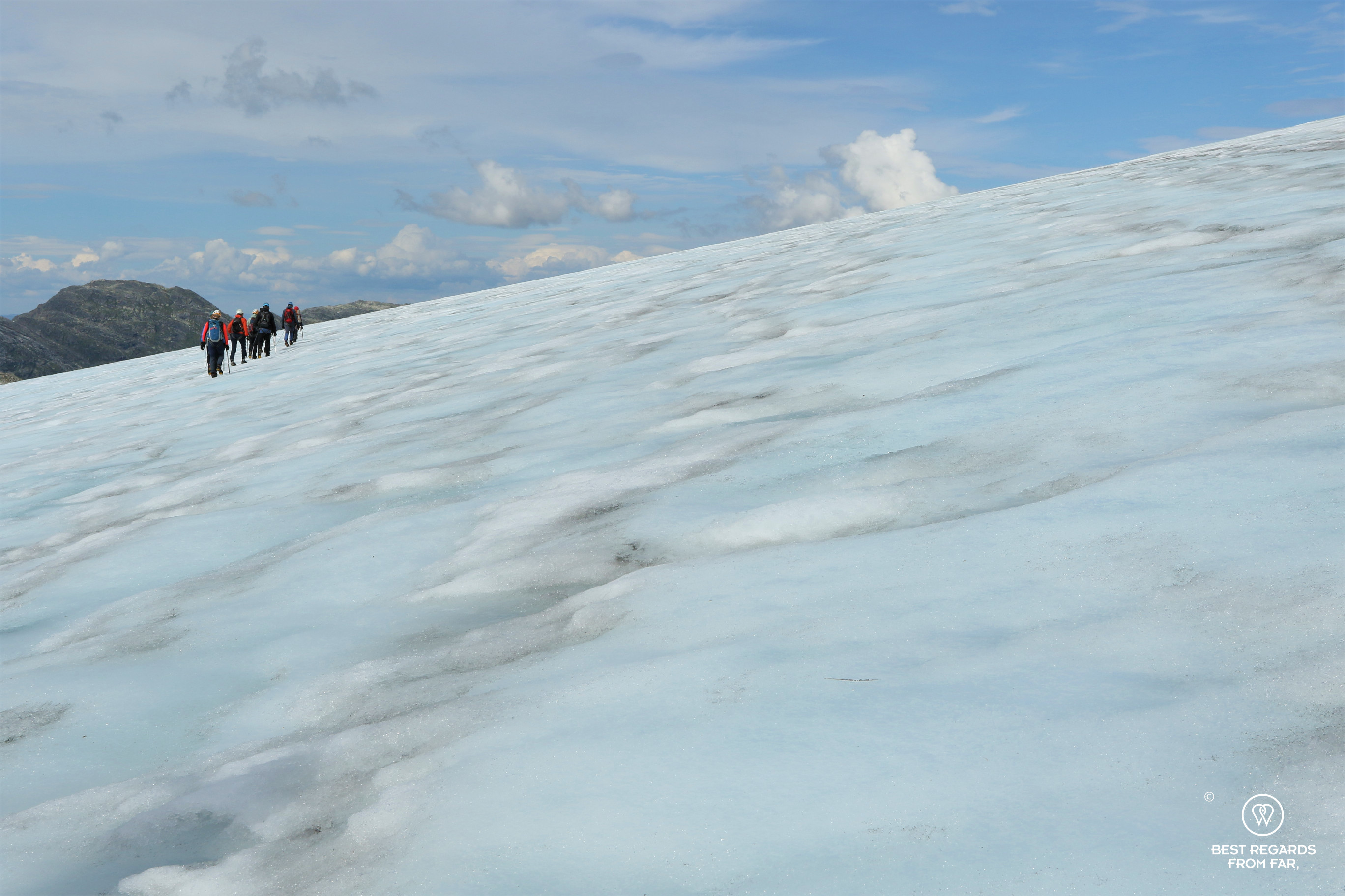 Roped group during the Blue Ice Hike on the Fonna Glacier