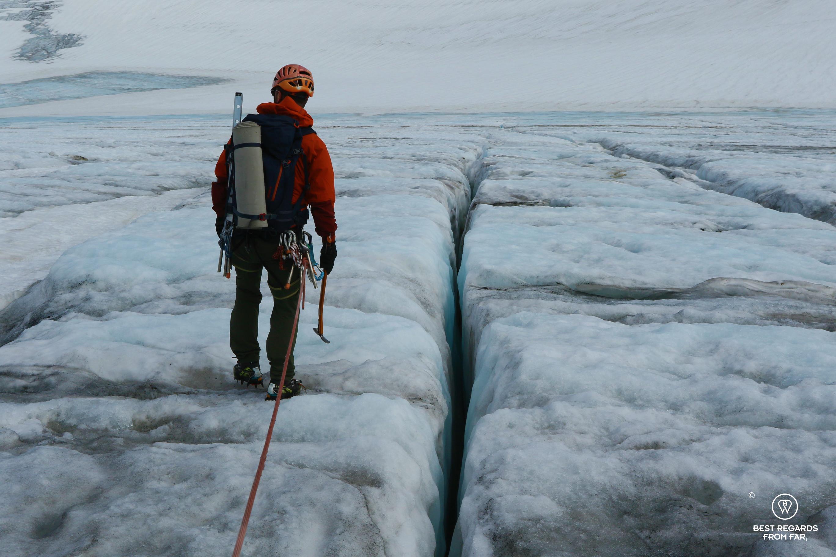 Guide Thorbjørn Helgesen leading the Blue Ice Hike on the Fonna Glacier