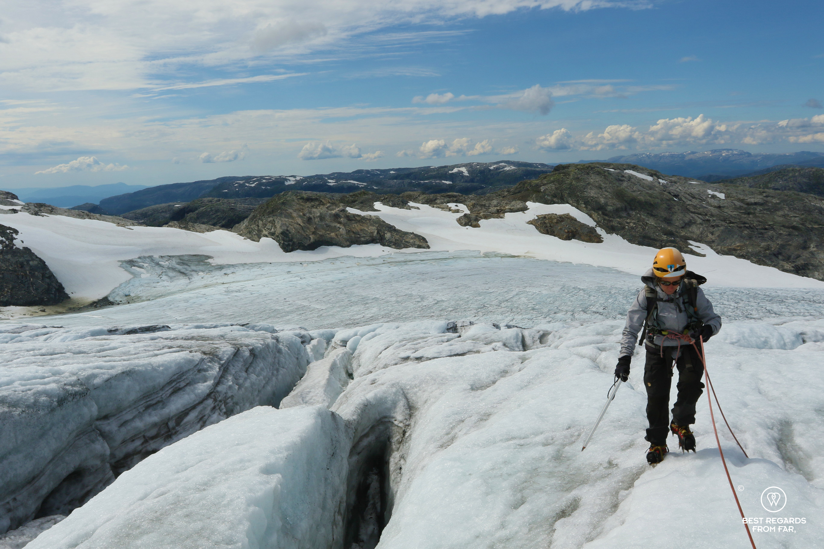 Photographer Claire Lessiau progressing on the Fonna Glacier