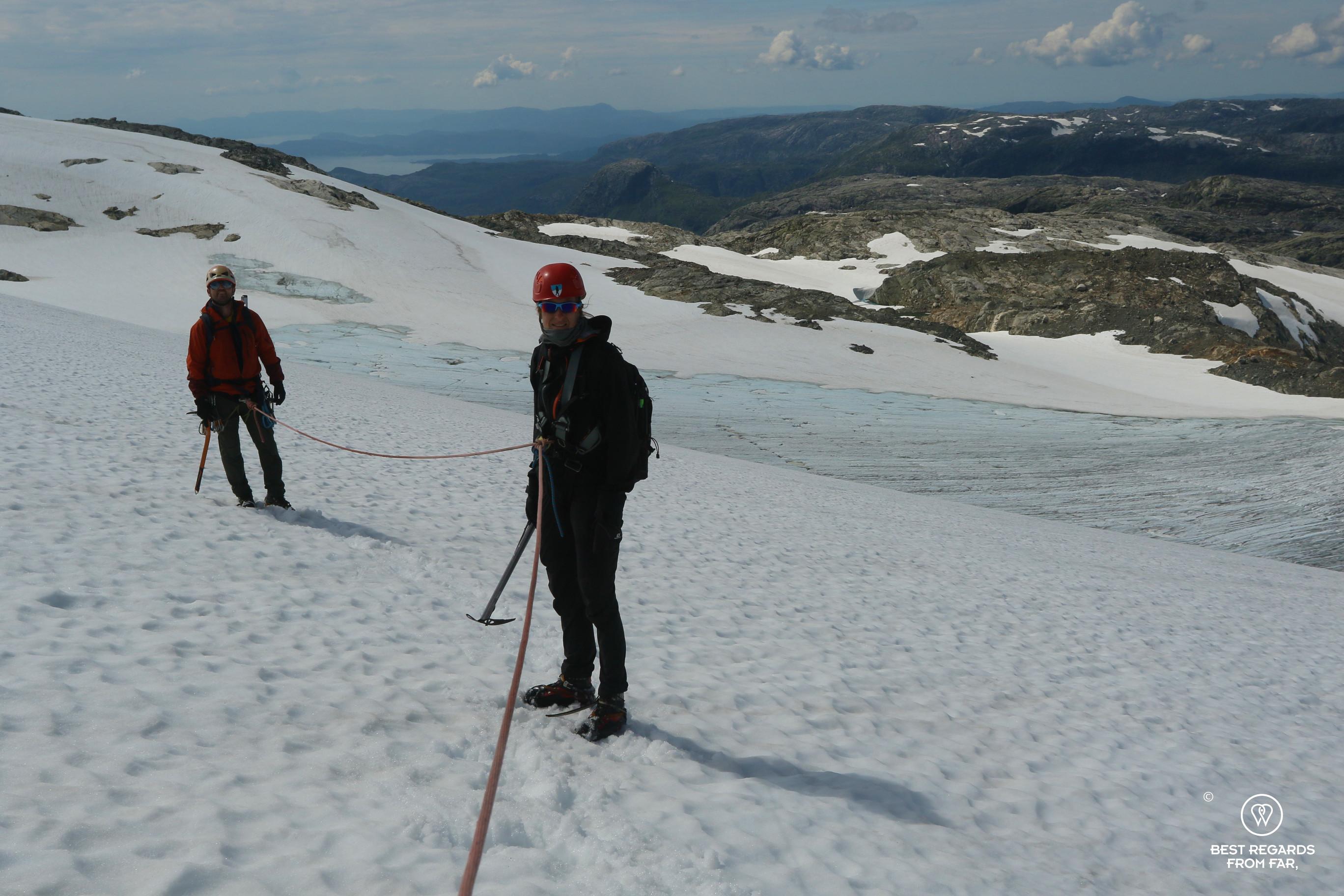 Author Marcella van Alphen progressing on the Fonna Glacier