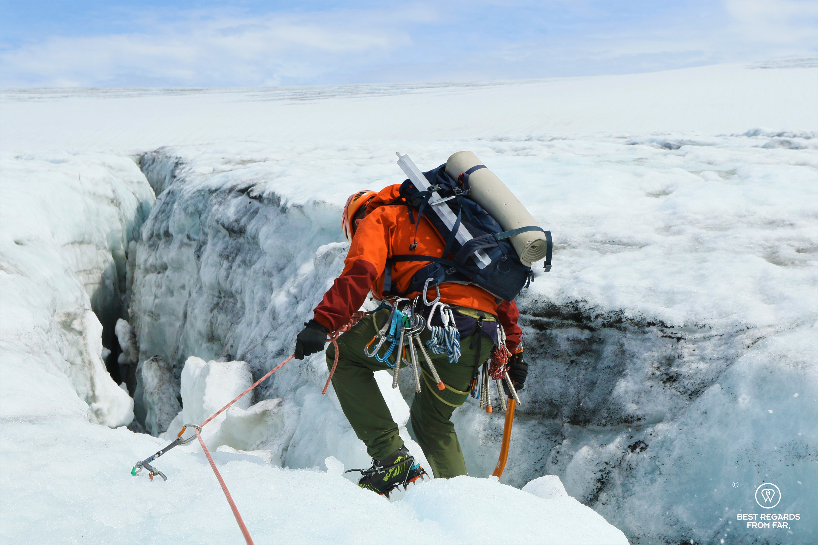 Guide Thorbjørn Helgesen leading the way to explore a crevasse on the Fonna Glacier