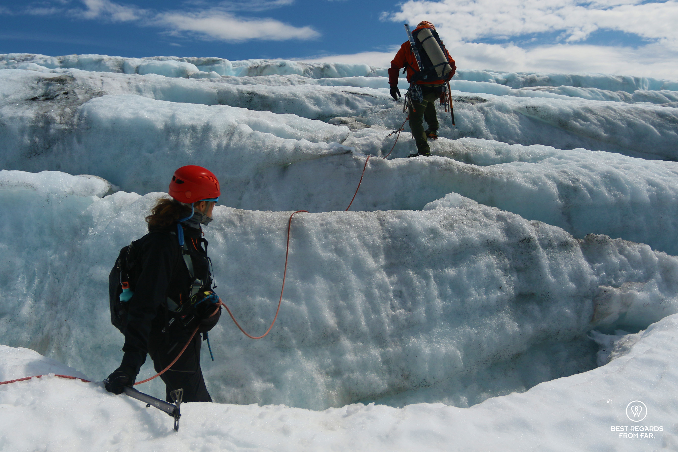 Author Marcella van Alphen progressing on the Fonna Glacier amongst crevasses
