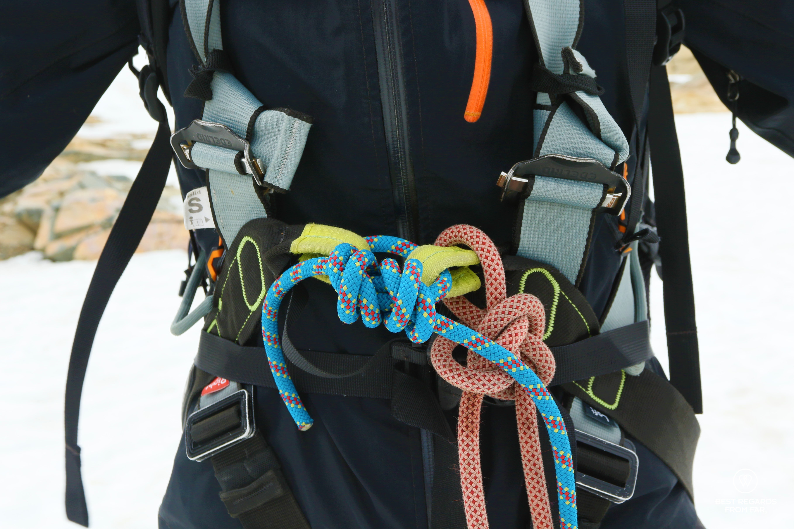 Close up on ropes to guarantee safety before hiking on the glacier