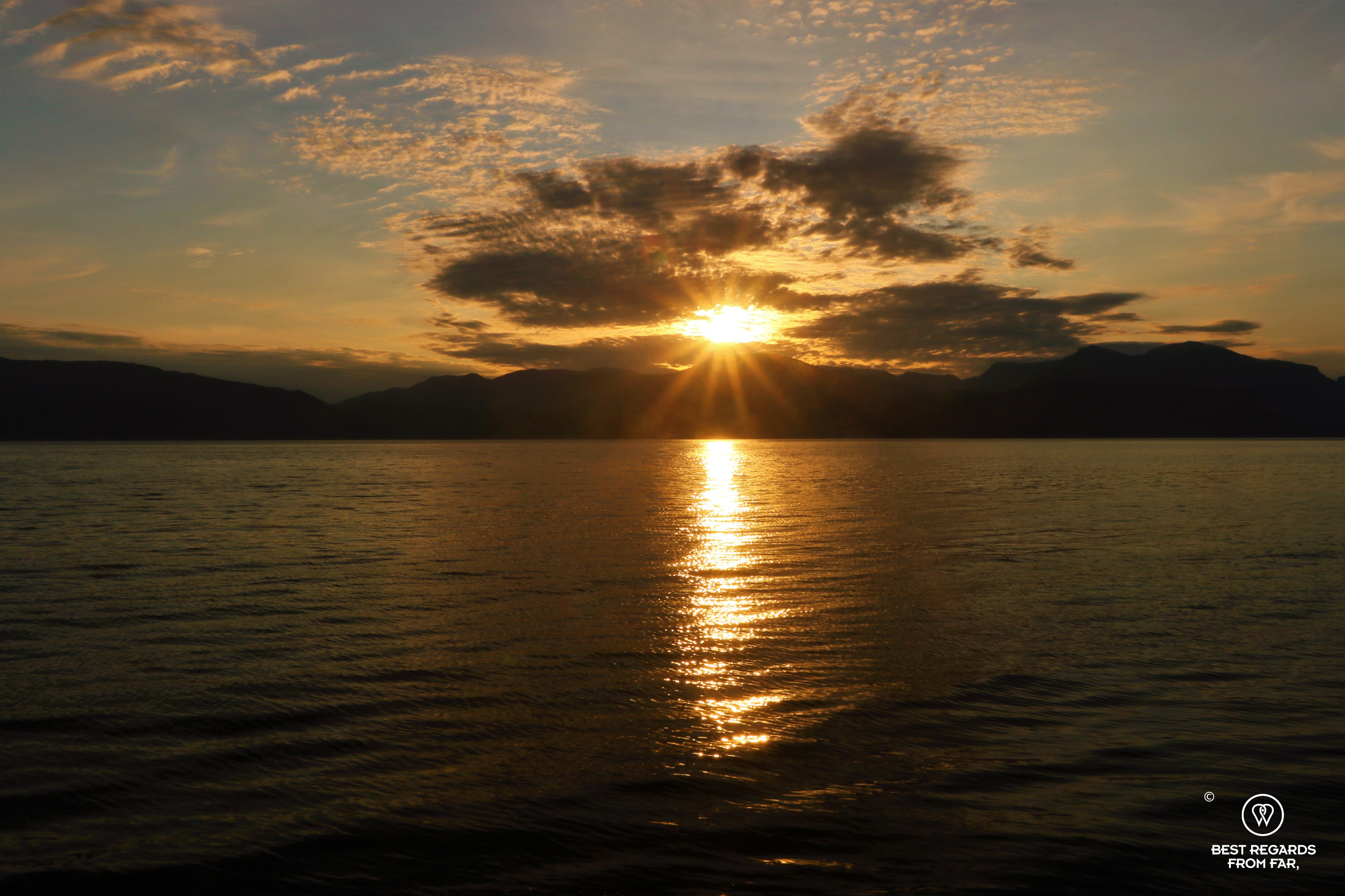 Sunset on the Hardangerfjord, the end of the Glacier Road